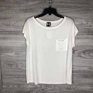 H By Bordeaux Ivory Crew Neck Pocket Tee